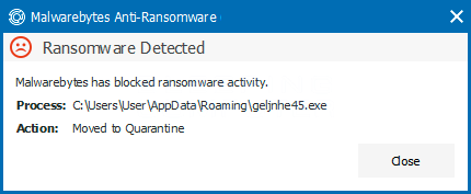 Malwarebytes Alert Window